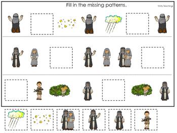 Abraham and Sarah Missing Pattern printable game. Preschoo