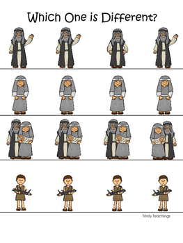Abraham and Sarah Which One is Different printable game. P