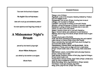 Abridged Shakespeare for English Classes: Midsummer Night's Dream