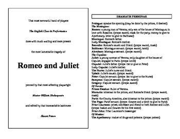 Abridged Shakespeare for English Classes: Romeo and Juliet