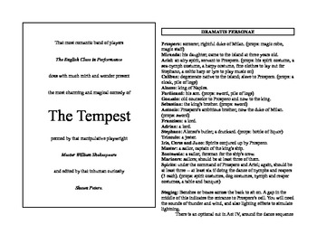 Abridged Shakespeare for English Classes: The Tempest