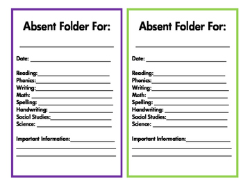 Absent Folder - Purple and Lime Green