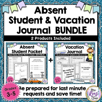 Absent Student & Vacation Journal Bundle of 2 Products for