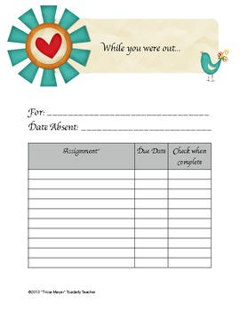 Absent Student Assignment Form