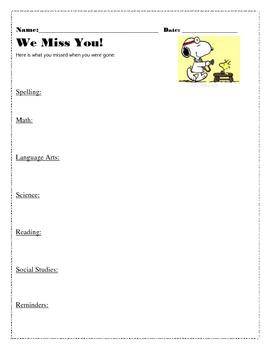 Absent Student Assignment Sheet