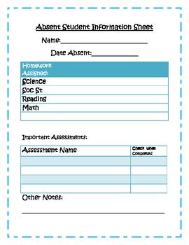 FREEBIE: Absent Student Information Recording Sheet