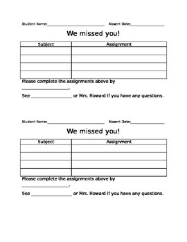 Absent Work Form *Editable*