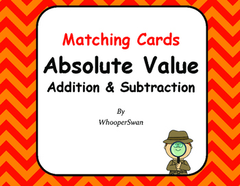 Absolute Value: Addition & Subtraction - Matching Cards