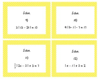 Absolute Value Equations Task Cards Algebra 1