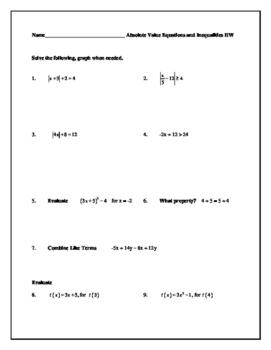 Absolute Value Equations and Inequalities Homework (Algebra 2)