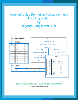 Absolute Value Formative Assessment and Test Preparation