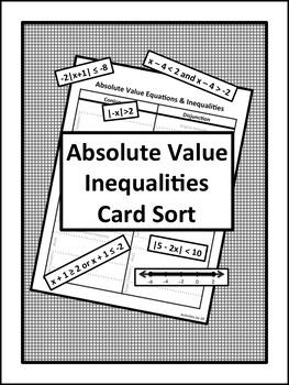 Absolute Value Inequalities Card Sort