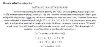 Absolute Value Stories