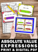 Absolute Value 6th 7th Grade Math Task Cards for Games in Centers