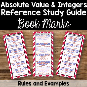Absolute Value and Integers Bookmarks - Study Guides