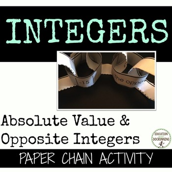 Absolute Value and Opposite Integers Paper Chain Activity