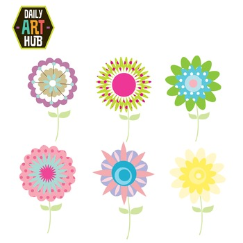 Abstract Flowers Clip Art - Great for Art Class Projects!