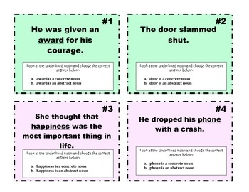 Abstract and Concrete Nouns Task Cards