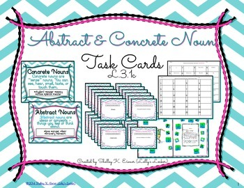 Abstract and Concrete Nouns Task Cards L.3.1c