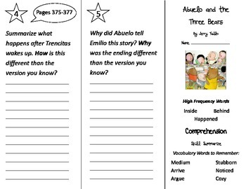 Abuelo and the Three Bears Trifold - Treasures 2nd Grade U