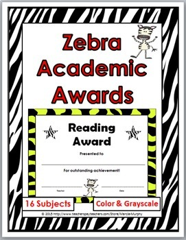 Zebra Theme Academic Awards
