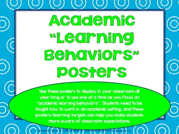 """Academic Learning Behaviors Posters """"Plus"""" turquoise and lime"""