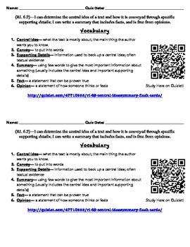 Central Idea Vocabulary & Assessment (DOK 1,2,3): RL/RI 6.