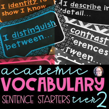 Academic Tier 2 Vocabulary Sentence Frames Chalkboard