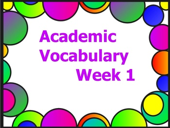 Grade 3 Academic Vocabulary Set 1 Promethean Flipchart