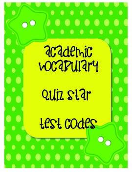 Grade 3 Academic Vocabulary Sets 1-21 Quiz Star Codes