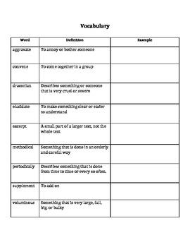 Academic Vocabulary Unit