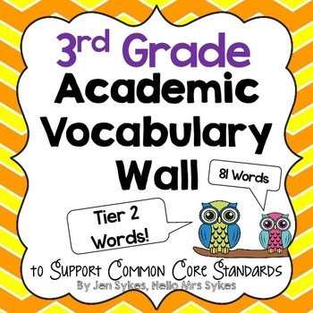 Academic Vocabulary Word Wall ~ Tier Two Words 3rd Grade