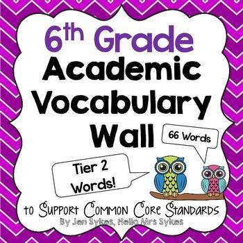 Vocabulary Word Wall ~ Sixth Grade Editable