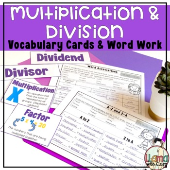 Academic Vocabulary Word Work: Multiplication and Division