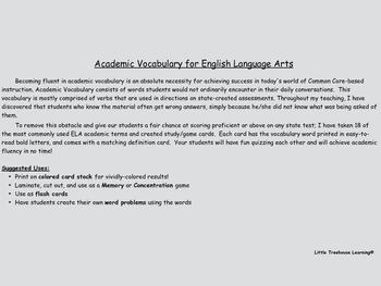 Academic Vocabulary for English Language Arts