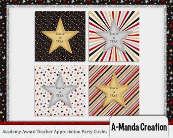 Academy Awards Teacher Appreciation Printable Party Circles