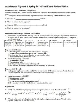 Accelerated Algebra Final Exam Review Packet Spring 2013