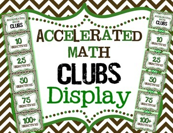 Accelerated Math Clubs Clip Chart Display (Green and Brown)