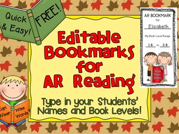 Accelerated Reader AR Bookmarks: EDITABLE and FREE!