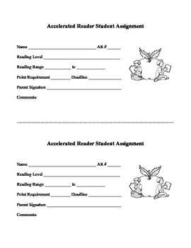 Accelerated Reader (AR) Student Assignment Card