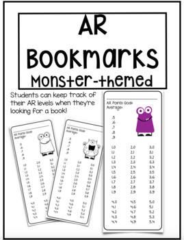 Accelerated Reader Bookmarks ~ Monsters