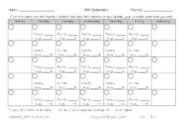 Accelerated Reader Calendar