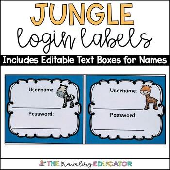 Computer Username and Password Cards (editable) Jungle Theme