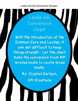 Accelerated Reader and Lexile Conversion Chart