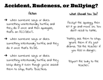 Accident vs. Rude vs. Bullying