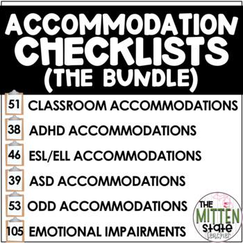 Accommodation Checklists BUNDLE {ADHD / ASD / ELL / Genera