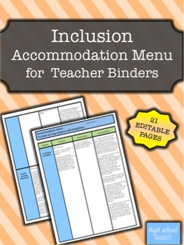 Accommodation Menu for Students with Disabilities