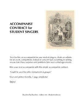 Accompanist Contract for Student Singers