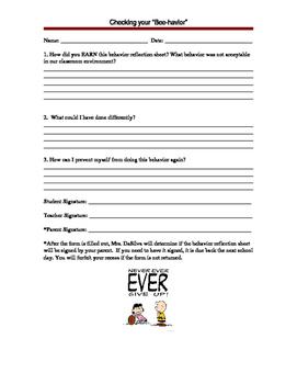 Accountability reflection sheet