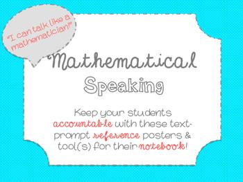 "Accountable Common Core ""Math Talk"" Reference Posters {Aqua}"